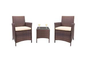 Homall Patio Furniture Outdoor Leisure Bar Set with Cushion PE Rattan Chairs and Patio Table with Tempered Glass Top (Beige)