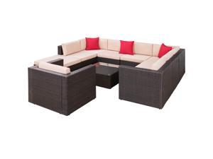 Homall 10 Pieces Outdoor Patio Furniture Sofa Set, All Weather PE Rattan Wicker Sectional Sets Modern Modular Couch Outside Conversation Set with Thick Cushions and Glass Coffee Table