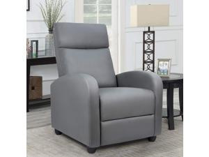 Homall Single Recliner Chair - Padded Seat, Black PU Leather, Living Room, Modern, Home Theater Seating (Gray)