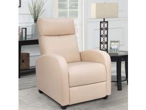 Homall Single Recliner Chair - Padded Seat, Black PU Leather, Living Room, Modern, Home Theater Seating (Beige)