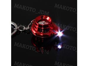 LED Electric Spinning Turbo Turbine Key Chain Keychain Ring Fob with Sound - Red