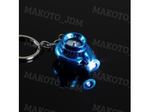 LED Electric Spinning Turbo Turbine Key Chain Keychain Ring with Sound - Blue