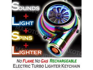 Rechargeable Electric Turbo Flameless No Gas Lighter Keychain Keyring Cigarette Lighter Mens Gifts - NEO CHROME