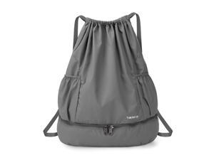 Foldable Drawstring Backpack Sports Gym Bag with Wet and Dry Compartments for Swimming Beach Camping