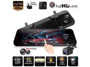 T12+ 9.66 inch Touch Car Rearview Mirror DVR Camera Dual Lens Night Vision Dash Cam Video Recorder