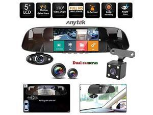 16GB TF Card+ Anytek@Car Dash Cam B33, Car Tachograph 5 Inch HD 1080P Car DVR Camera Dual Way 170 Degree G-Sensor Recorder Supper Night Vision Dash Cam Camera