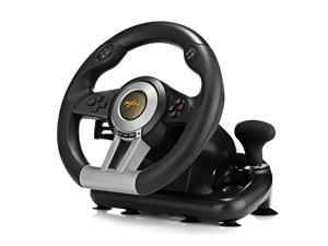 PXN V3II Racing Game Steering Wheel with Foldable Pedal Compatible with PC, PS3, PS4 and Xbox One(BLACK)
