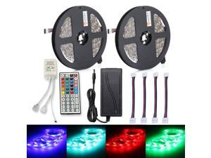 Strip Light 2PCS 150 x 5050 RGB LED 44Key IR Remote Controller 12V 6A Power Supply with 4PCS RGB Connecting Cable UK PLUG