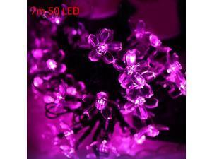 Christmas Tree Decors 7m 50 LED Solar Pink String Light Peach Blossom Shape Lamp Xmas Tree Ornament