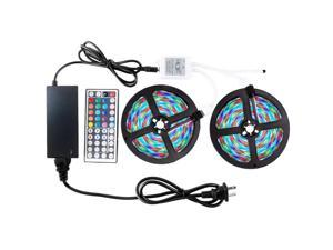 RGB LED Strip Light 2 x 5M 2835 with 44Key IR Controller 12V 3A Power Supply Set