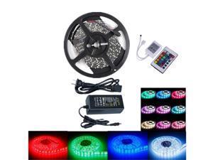 Flexible 12V Light LED Strip IP-44 Ul Listed Power Supply SMD 5050 RGB with 24 Key IR Controller Bedroom Sitting Room 5M US Plug