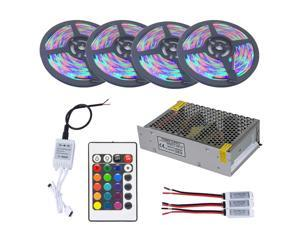 Strip Light 1SET 20M 3528 RGB Waterproof LED Strip DC 12V 24 Keys RGB Controller 8.5A Power Supply
