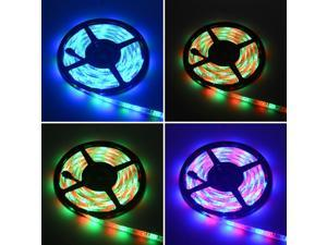 RGB Strip Lights 5M Waterproof 24W RGB 2835 SMD 300 LED Strip Light with IR 44 Keys Remote Control + DC Adapter ( EU Plug )