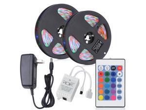 Strip Light 2Pcs x 5M 24W Waterproof RGB 2835 SMD 300 LED Light with IR 24 Keys Remote Control+ DC Adapter ( EU Plug )