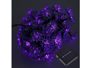 50 LEDs Solar Powered Lotus Flower Purple Light String Light for Christmas Party Decoartion