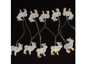 String Lights White Iron Moose Fairy LED Home Decor Light Home Garden of Battery Powered 1.65M 10 LED