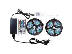 RGB LED Strip Light 2 x5M Waterproof 2835 44Key Controller 12V 3A Power Supply