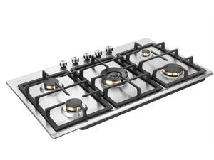 """Robam G515 5 Burner Gas Cooktop, 36"""" Stainless Steel Countertop Gas Range, Compatible With Natural Gas Or Liquid Propane"""