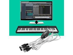 New USB IN-OUT MIDI Interface Cable Converter PC to Music Keyboard Cord