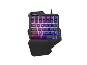One-handed Keyboard Colorful Backlit Mechanical Eating Chicken Game Mobile Phone Keypad Mobile Game Artifact with Macro Recording Keyboard