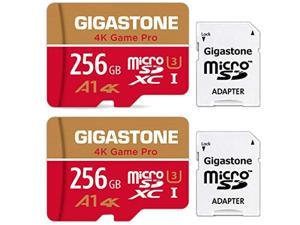 Gigastone 256GB 2-Pack Micro SD Card, Professional 4K Ultra HD, High Speed 4K UHD Gaming, Micro SDXC UHS-I U3 C10 Class 10 Memory Card with Adapter, 5-Year Warranty