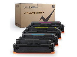 (Without CHIP) V4INK Compatible Toner Cartridge Replacement for Canon 055 CRG-055 Toner Black Cyan Magenta Yellow Set for Canon imageCLASS MF740C MF741Cdw MF743Cdw MF745Cdw MF746Cdw LBP660C Printer