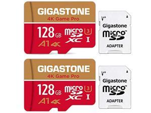 Gigastone 128GB 2-Pack Micro SD Card, Professional 4K Ultra HD, High Speed 4K UHD Gaming, Micro SDXC UHS-I U3 C10 Class 10 Memory Card with Adapter, 5-Year Warranty