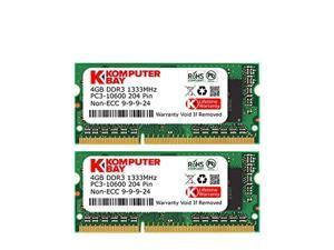 Komputerbay 8GB (2X 4GB) DDR3 SODIMM (204 pin) 1333MHz PC3-10600 8 GB (9-9-9-24) Laptop Memory Kit - Retail Package- (Not for Mac)