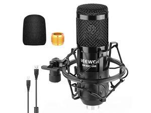 Neewer NW-8000 USB Microphone, 192kHz/24-Bit Supercardioid Condenser Mic with Shock Mount and Foam Windscreen for Singing, Vlog, Podcast, Live Streaming, Plug&Play
