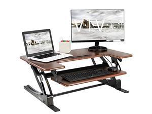 VIVO Dark Wood Height Adjustable 36 inch Stand Up Desk Converter, Quick Sit to Stand Tabletop Dual Monitor Riser Workstation, DESK-V000VD