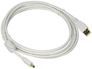Monoprice 10-Feet USB 2.0 A Male to Mini-B 5pin Male 28/24AWG Cable with Ferrite Core (Gold Plated), White (108635)