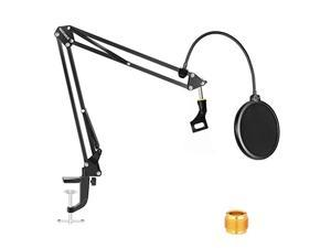 Neewer NW-35 Black Microphone Suspension Boom Scissor Arm Stand with Mic Clip Holder Table Mounting Clamp & NW(B-3) Pop Filter Windscreen Shield Kit