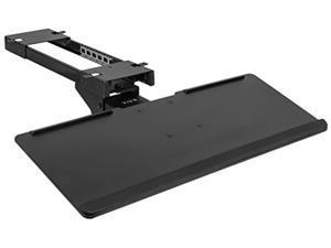 VIVO Black Adjustable Computer Keyboard & Mouse Platform Tray Deluxe Rolling Track Under Table Desk Mount (MOUNT-KB04C)