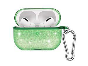 MoKo Case Fit AirPods Pro 2019, [Visible Front LED] Soft Split Design Glittery TPU Case, Scratch Proof and Drop Proof Protective Cover Skin for Airpods Pro Wireless Charging Box - Green