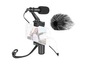 Neewer Smartphone Video Rig with CM14 Video Microphone, Grip Handle and Phone Clip Compatible with iPhone, Android Phones for Vlogging/Interviews/Live Streaming (iPhone Lightning Adapter Not Included)
