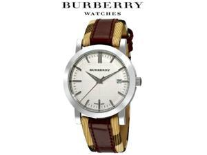 New Burberry BU1389 Heritage Check Burgundy Leather Strap Unisex Date Dial