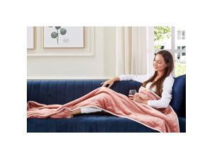 Animal Print Foot Pocket Blanket - Sherpa Throw Blanket for Bed, Couch 28 x 70 Tenley, Blush
