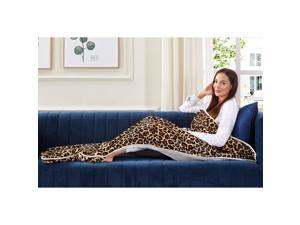 Animal Print Foot Pocket Blanket - Sherpa Throw Blanket for Bed, Couch 28 x 70 Tenley, Leopard