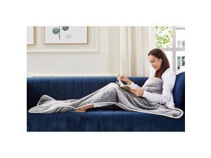 Animal Print Foot Pocket Blanket - Sherpa Throw Blanket for Bed, Couch 28 x 70 Tenley, Light Grey