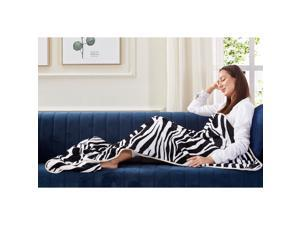 Animal Print Foot Pocket Blanket - Sherpa Throw Blanket for Bed, Couch 28 x 70 Tenley, Zebra