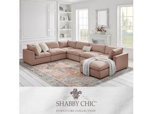 Shabby Chic Aliya Modular U-Sofa Chaise Sectional - Upholstered   Corner Sofa and Ottoman, Pink Linen