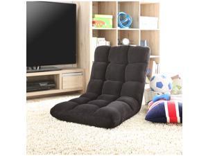 Loungie Black Microplush Recliner Chair - Folding Floor Mat | Adjustable | Gaming