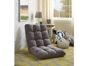 Loungie Grey Microplush Recliner Chair - Folding Floor Mat | Adjustable | Gaming