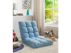 Loungie Blue Microplush Recliner Chair - Folding Floor Mat | Adjustable | Gaming