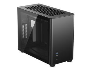JONSBO A4 Ver1.1 ITX Computer Case Support 240mm Radiator SFX-L PSU 325mm Vertical GPU Vertical Airflow Tempered Glass Side Panel Separated Cabinet Magnalium Case - Black