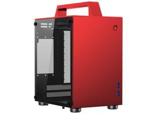 JONSBO T8 Handle Mini-ITX Computer Case Aluminum Tempered Glass Desktop Chassis with Handle for ITX 170mm*170mm Motherboards – RED
