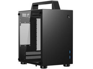 JONSBO T8 Handle Mini-ITX Computer Case Aluminum Tempered Glass Desktop Chassis with Handle for ITX 170mm*170mm Motherboards – Black