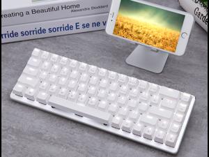 Ajazz ZN Zinc Metal Wireless Bluetooth Mechanical Cherry MX Blue Switch 68 keys Gaming Keyboard for Mac/Windows/Android White Backlit