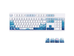 Ajazz AK535 Dragonfly Theme Mechanical Gaming Keyboard USB Wired 104 Keys for Gamers PBT Keycaps - Blue Switch (White backlight)