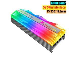 Hantop ARGB Colorful Lighting M.2 2280 SSD Heatsink Solid State Hard Disk Cooler Radiator FAN Pin Heat Thermal Dissipation Cooling Pad